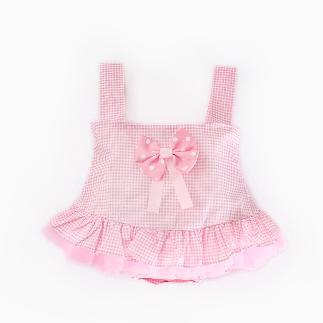 794e2ccadb08 🌟INSTOCK🌟 Polka Bow Ribbon Sweet Pink Princess Plaid Frock Flare ...