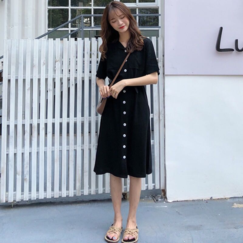 Korean Ulzzang Style Buttoned Down Dress Women S Fashion Clothes