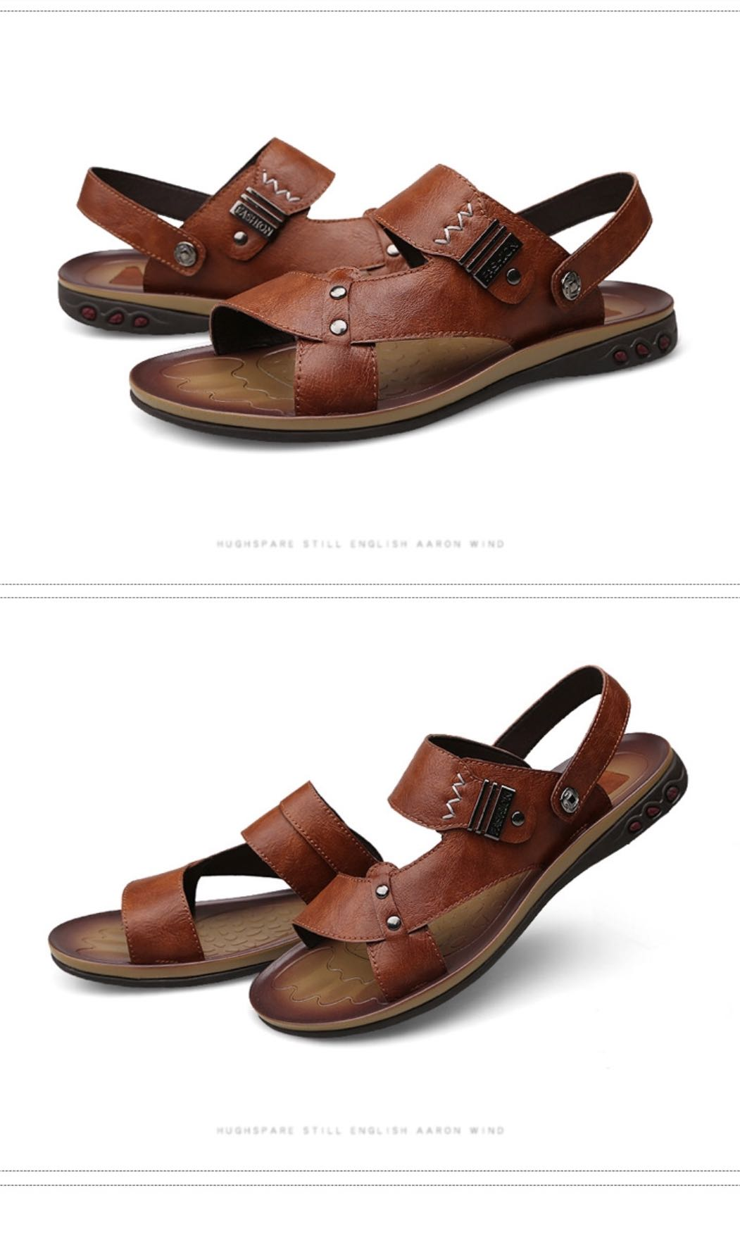 dde73cc3cf02 Men Leather Sandals Slippers