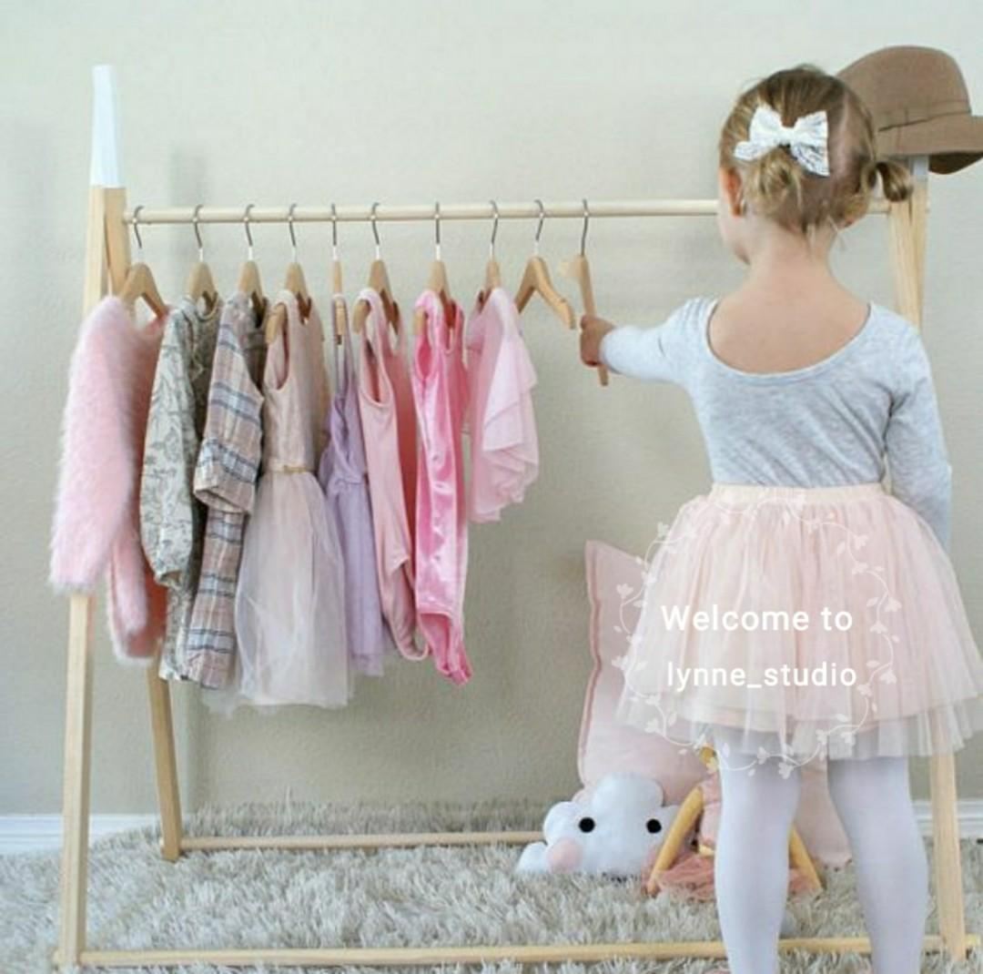 Mini Children Clothing Rack Wooden Garment Frame Furniture Home
