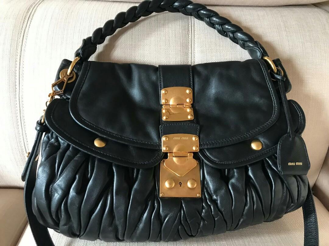 f34b29f71626 BLACK FRIDAY SALE Miu miu-Black Nappa Coffer matelasse leather 2way ...