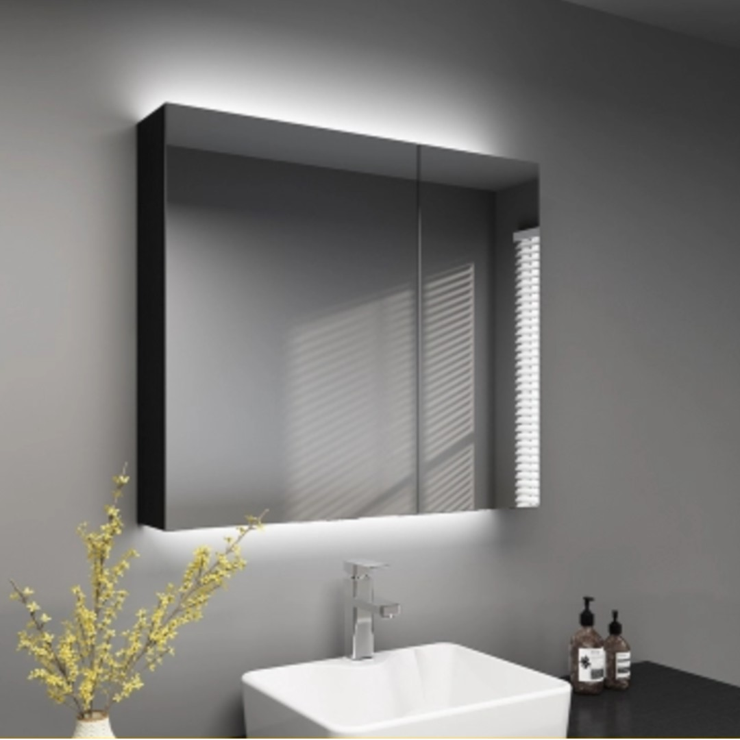 Black Solid Wood Bathroom Mirror Cabinet With Led Furniture