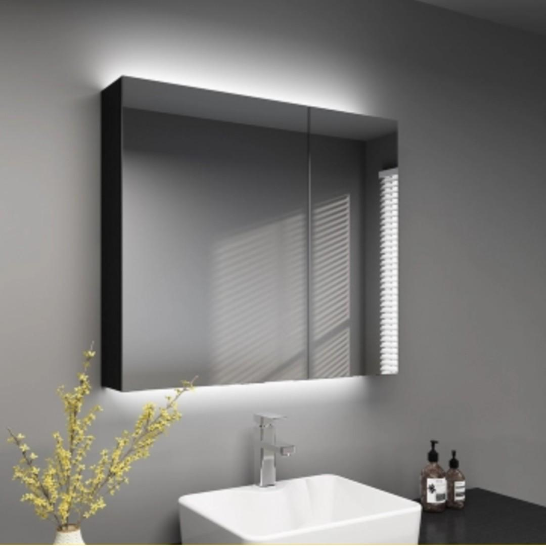 Black Solid Wood Bathroom Mirror Cabinet With Led Furniture Shelves Drawers On Carousell