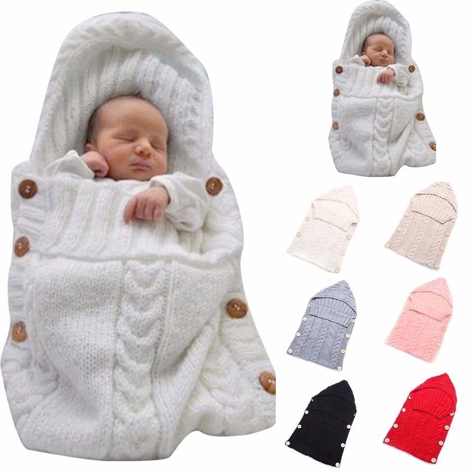bfcafdc6e Newborn Baby Wrap Swaddle Blanket Kids Toddler Wool Knit Blanket ...