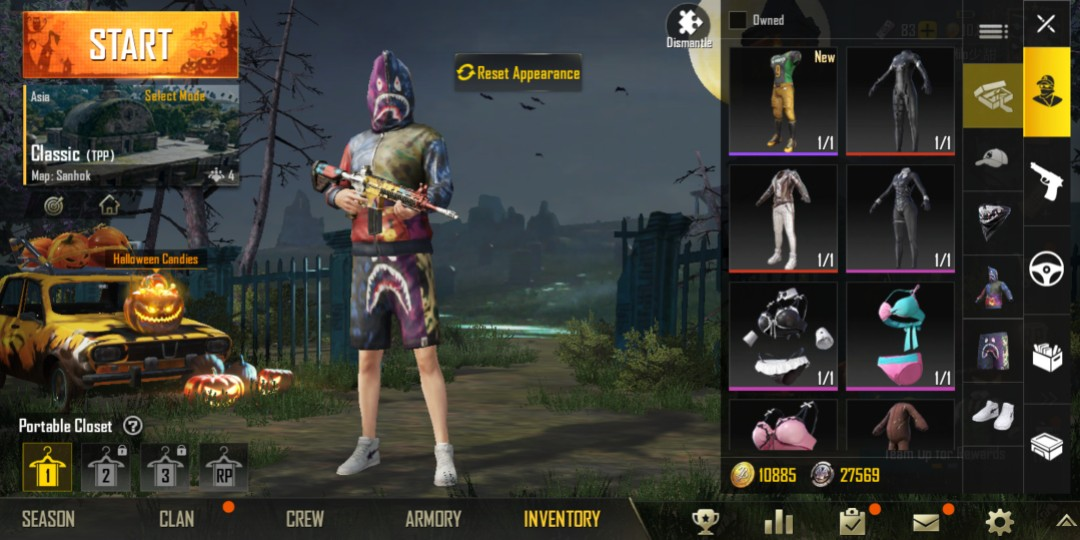 PUBG mobile account for sale with full BAPE and 267 other rare outfits not  including weapon skins