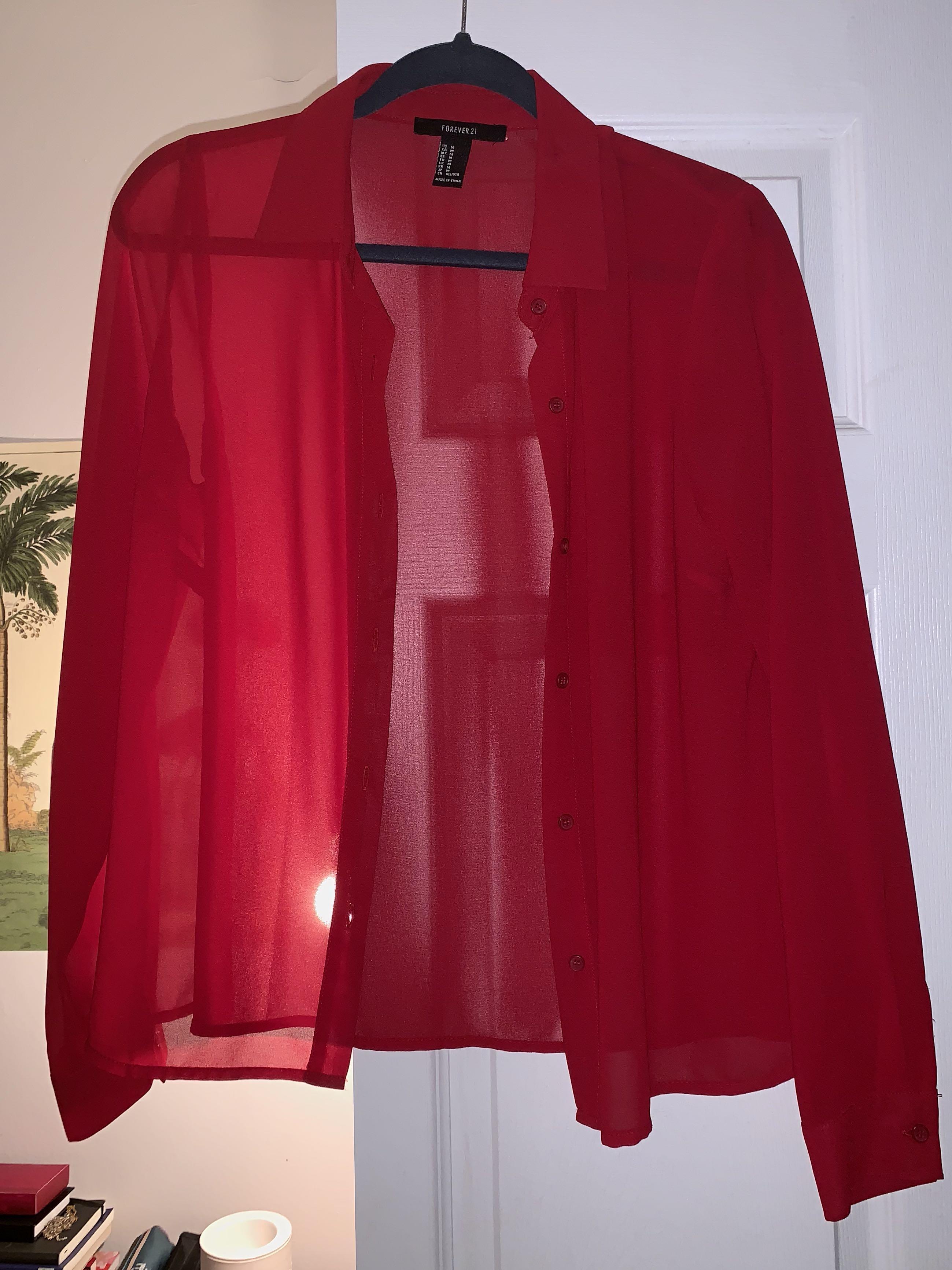 Red chiffon see through dress shirt