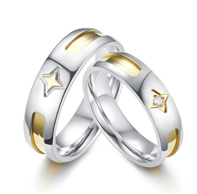 Sales Elegant Star Design Couple Stainless Steel Cz Jewelry