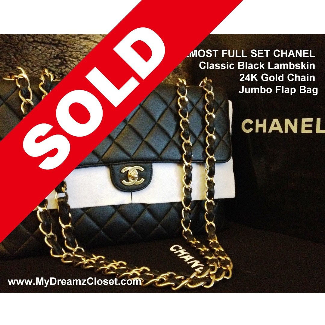 3255dfe4bb93 SOLD - ALMOST FULL SET CHANEL Classic Black Lambskin 24K Gold Chain Jumbo  Flap Bag