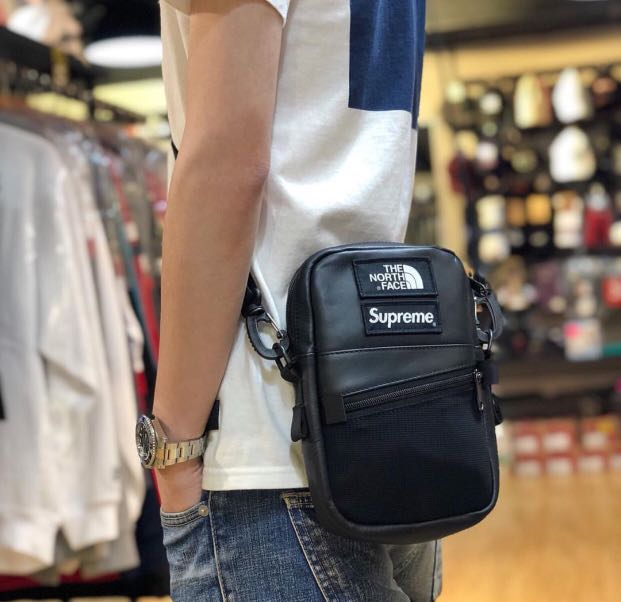 242bf1279 Supreme x The North Face Leather Shoulder Bag, Men's Fashion, Bags ...