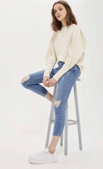 Size Waist- 26 Topshop Moto Women's Jamie Jeans Length- 32 Uk- 8 Light Grey
