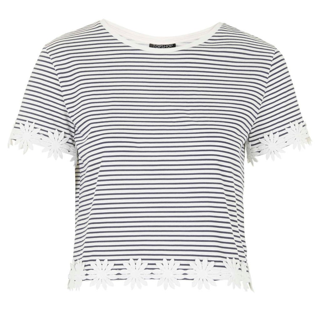 00583564c Topshop Striped Short-Sleeve Crop Top With Lace Trim
