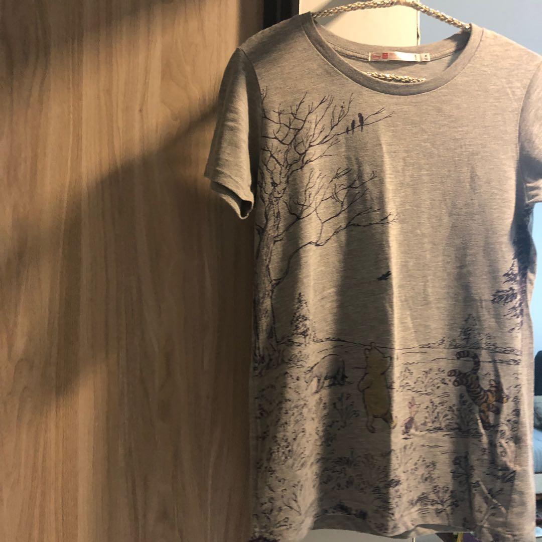 890f7afc Uniqlo Disney Winnie-The-Pooh Grey Tshirt, Women's Fashion, Clothes ...