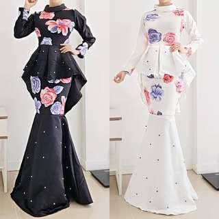Flowery pearl peplum maxi gaun gown