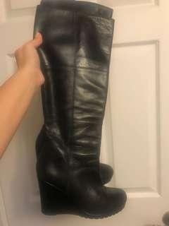Aldo leather wedge boots for sale