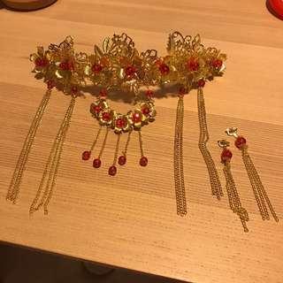 Wedding Kua / Tea Ceremony Red + Gold Headdress / Head gear + Earrings