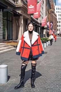 AW 原創設計 街拍 自帶氣場 磚紅 羊羔毛  撞色 拼色 外套 預購
