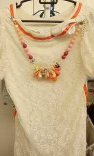 Italy brand top with pretty necklace attached