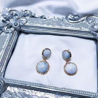 🚚 珠寶耳環 渲染淡藍色 夾式 全新