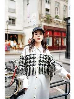 AW 原創設計 寬鬆版型 白襯衫 拼接 千鳥格紋 流蘇 造型 連身裙 洋裝 預購