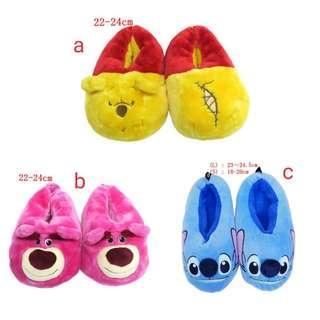 (訂購) Disney 迪士尼 Winnie The Pooh 小熊維尼 lotso 勞蘇熊 stitch 史迪仔 毛毛拖鞋