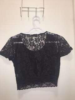 Black lace cropped top