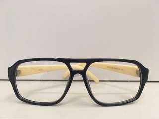 🚚 深藍鏡框 米黃米白色鏡架 大方框粗框眼鏡 平光眼鏡 造型眼鏡 修飾臉型 素顏必備