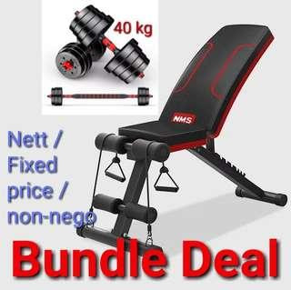 Dumbbell set and workout bench exercise bench