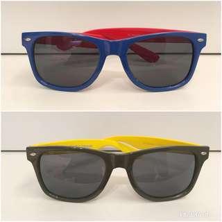 🚚 美國select shop Urban Outfitters 跳色 撞色 彩色 繽紛 太陽眼鏡 墨鏡 藍+紅、墨綠軍綠+黃