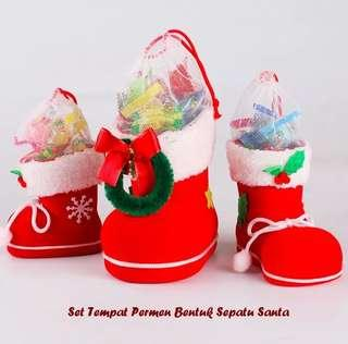 Tempat Permen Sepatu Santa 1 Set 3pcs Ukaran Berbeda