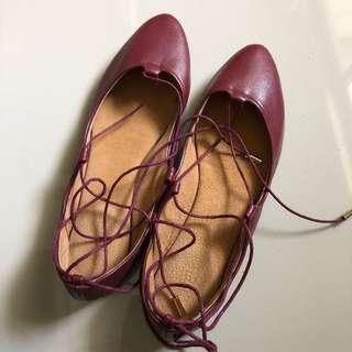 Unused Suelas Flats Size 7.5 Dark Red