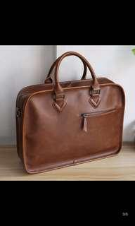 🚚 INSTOCK! Brown crazy horse Pu leather briefcase - formal office bag - mens brown laptop bag