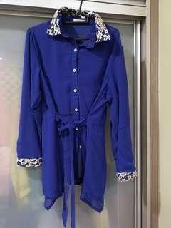 Blouse biru labuh
