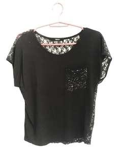 Forever 21 Black Sheer Back Tops