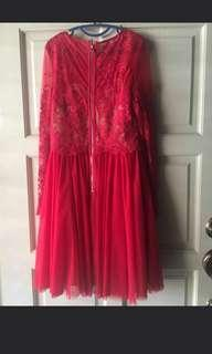 red lovely lace dinner dress