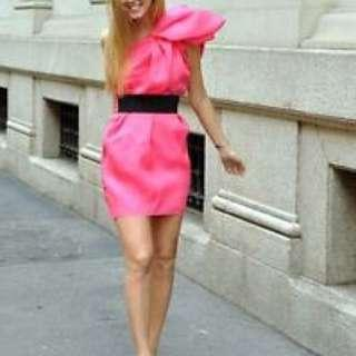 Lanvin x H&M Shock Neon Pink Dress UK8 Cocktail Dress 派對 連衣裙 限量版 Limited Edition 晚裝