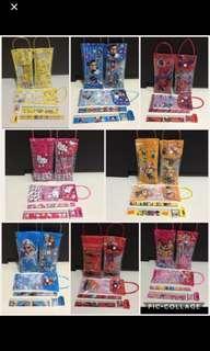 🚚 // CLEARANCE // Brand New Disney Cartoons Frozen, Hello Kitty, Princess, Minions, Mickey, Spiderman, Cars, Pokémon Kids Children Goodies Bag Pencils Case Cum Bag 6 In 1 Stationery Sets !!