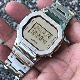 ❄️❄️❄️The latest IN thing in the G-Shock world now - DW5600 in full silver metal bezel and metal bracelet , gshock , G-Shock , G-SHOCK , g-shock , Casio , CASIO , casio