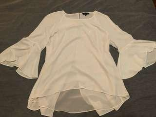 White Belle Sleeve Top Size 14