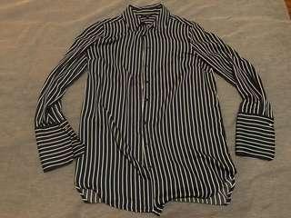 Navy Blue Stripe Shirt Size 14