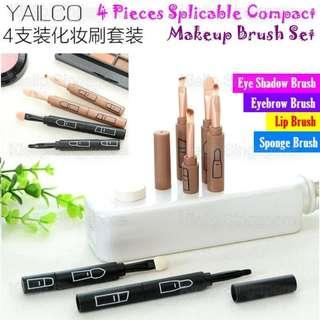 [Kiellp-女人我最大]Yailco 4 Pieces Splicable Pen Compact Makeup Brush Set/Eye Shadow,Eyebrow,Lip,Sponge Brush/Stackable Into A Pen Fit In Handbag Pouch/Quick Makeup Brush Set Anytime Anywhere