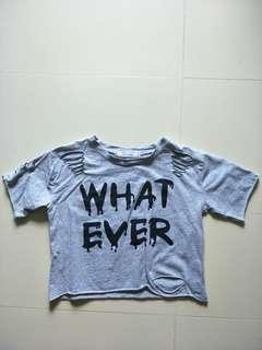"""""""WHAT EVER"""" ribbed top"""