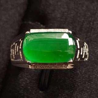 High icy green jade diamond ring