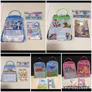 🚚 // CLEARANCE // Brand New Poli Car / My Little Pony / Peppa Pig / TsumTsum / Zootopia Handbag Stationery Set