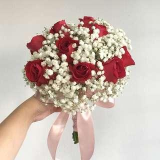 ROM Bouquet in Red Roses with Baby Breath