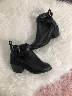 Faux leather ankle booties with cut out size 6