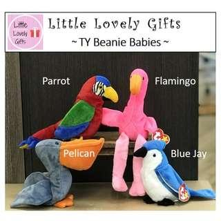 TY Beanies for Sale Parrot Flamingo Pelican Blue Jay
