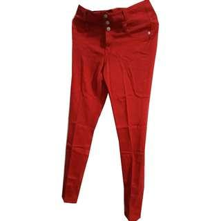 High waist Stretchable Red Pants