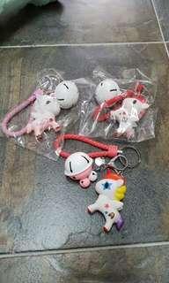 BNIB Unicorn Key Chains with Bells look alike Tokidoki