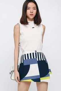 🚚 Love Bonito Divina Printed Skorts in Navy Blue + Yellow Size S