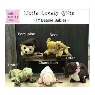 TY Beanies for Sale Porcupine Deer Otter Chameleon Lizard